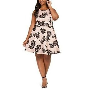 City Studios Embroidered Floral Flare Dress 24W